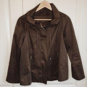 Zara Woman Brown Swing Trapeze Light Jacket Small